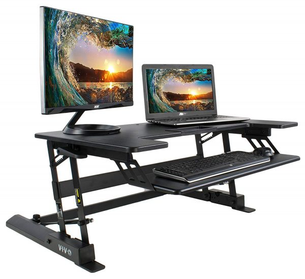 "VIVO Height Adjustable Standing Desk Sit to Stand Gas Spring Riser Converter | 36"" Tabletop Workstation fits Dual Monitor (DESK-V000B)"
